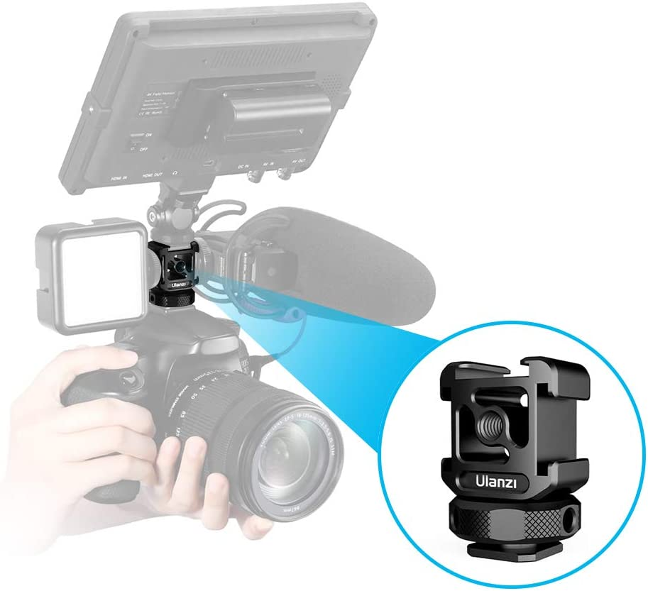 Ulanzi Triple Cold Shoe Mount Adapter Aluminum Alloy with 3 Cold Shoe Dual 1//4 Thread for Camera Extension Microphone LED Light Magic Arm Mount