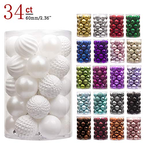 Set Ornament Shatterproof - KI Store 34ct Christmas Ball Ornaments Shatterproof Christmas Decorations Tree Balls for Holiday Wedding Party Decoration, Tree Ornaments Hooks Included 2.36