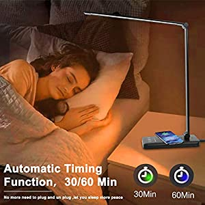 LED Desk Lamp with Wireless Charger,Touch Control,USB Charging Port,Dimmable Eye Protection Table Lamp with 5 Lighting Modes & 10 Brightness Levels, 30/60 min Auto Timer,Desk Lamps for Home Office