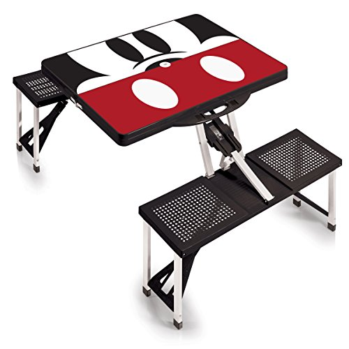 Mouse Bench Seat - Disney Classics Mickey Mouse Portable Folding Picnic Table with Seating for 4, Black