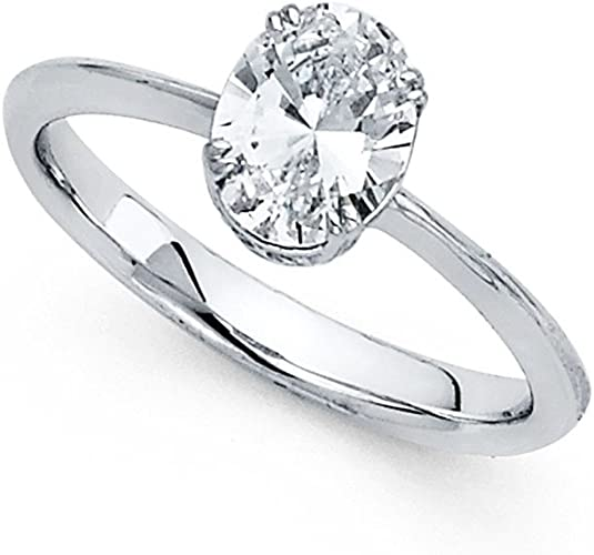 Gemapex 14k Yellow Or White Gold Oval Cz Solitaire Engagement Ring