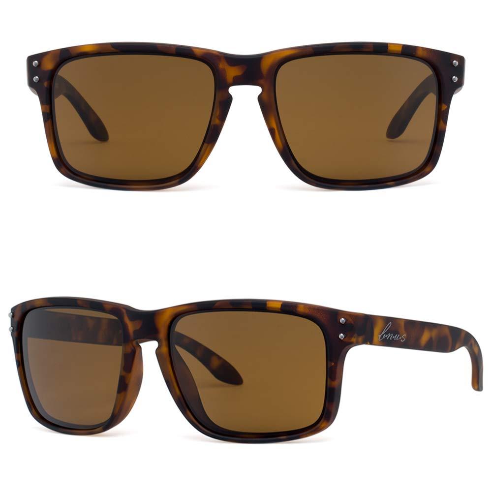 Bnus italy made classic sunglasses corning real glass lens w. polarized option (Tortoise Rubber/Brown B15 Polarized 59mm(XL), Polarized Size:59mm(XL)) by B.N.U.S