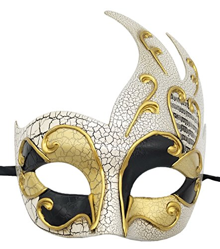 Flywife Men's Masquerade Mask Vintage Cracked Venetian Party Mask Halloween Mardi Gras Mask (Gold)