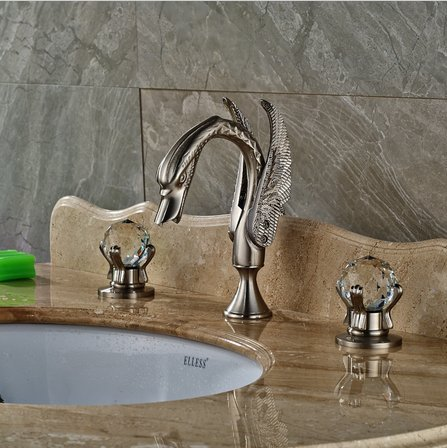 GOWE 3 PCS Nickel Brushed Bathroom Swan Faucet Crytal Handles Vanity Sink Mixer Tap 1