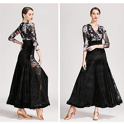 Lyrique Taille En 2xl Xl Col Velours Dancewear Robe Tank Sequin Profond Noir Latin Floral Jupe De L Grande Maxi xl Cpdz Danse Justaucorps Ballet V tqwRTxtp