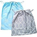 Diaper Pail Liner,Washable & Reusable Storage Bag for Cloth Diaper 2 Pack (Blue, Gray)