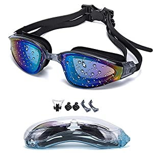 YJWB Swimming Goggles,Swim Goggles No Leaking Anti Fog UV Protection Triathlon Swim Goggles,Adult Men Women Youth Kids Child, 5 Choices