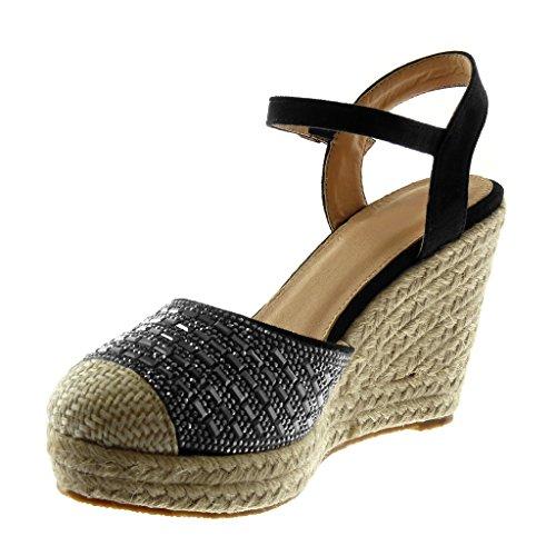 Angkorly Women's Fashion Shoes Sandals Mules - Platform - Ankle Strap - Rhinestone - Cord - Braided Wedge Platform 10 cm Black hiFFGi