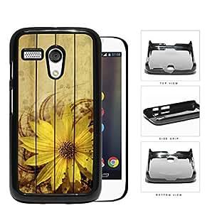 Grunge Sunflower With Wood Pattern Background Hard Plastic Snap On Cell Phone Case Motorola Moto G