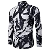 Pervobs Shirts for Men Spring Summer Casual Stand Collar Button-Down Long Sleeve Tee Shirt Tops Blouse(XL, Black)