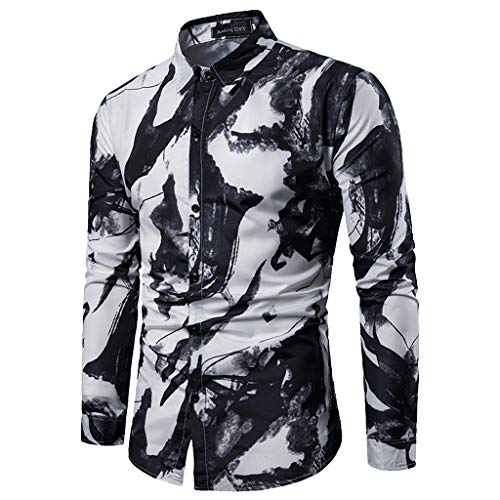 Pervobs Shirts for Men Spring Summer Casual Stand Collar Button-Down Long Sleeve Tee Shirt Tops Blouse(XL, Black) by Pervobs Men Shirts (Image #1)