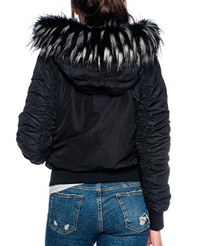 reputable site a4de3 3489b Dress Sheek Premium Damen Bomberjacke mit Fell Kapuze