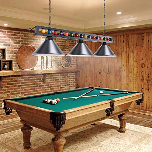 Pool Table Light, Wellmet 59 Inch Billiard Lights with Billiards Ball, 3-Light DIY Pool Table Lighting for 7ft, 8ft, 9ft Pool Table, Morden Kitchen Light for Game Room Beer Party