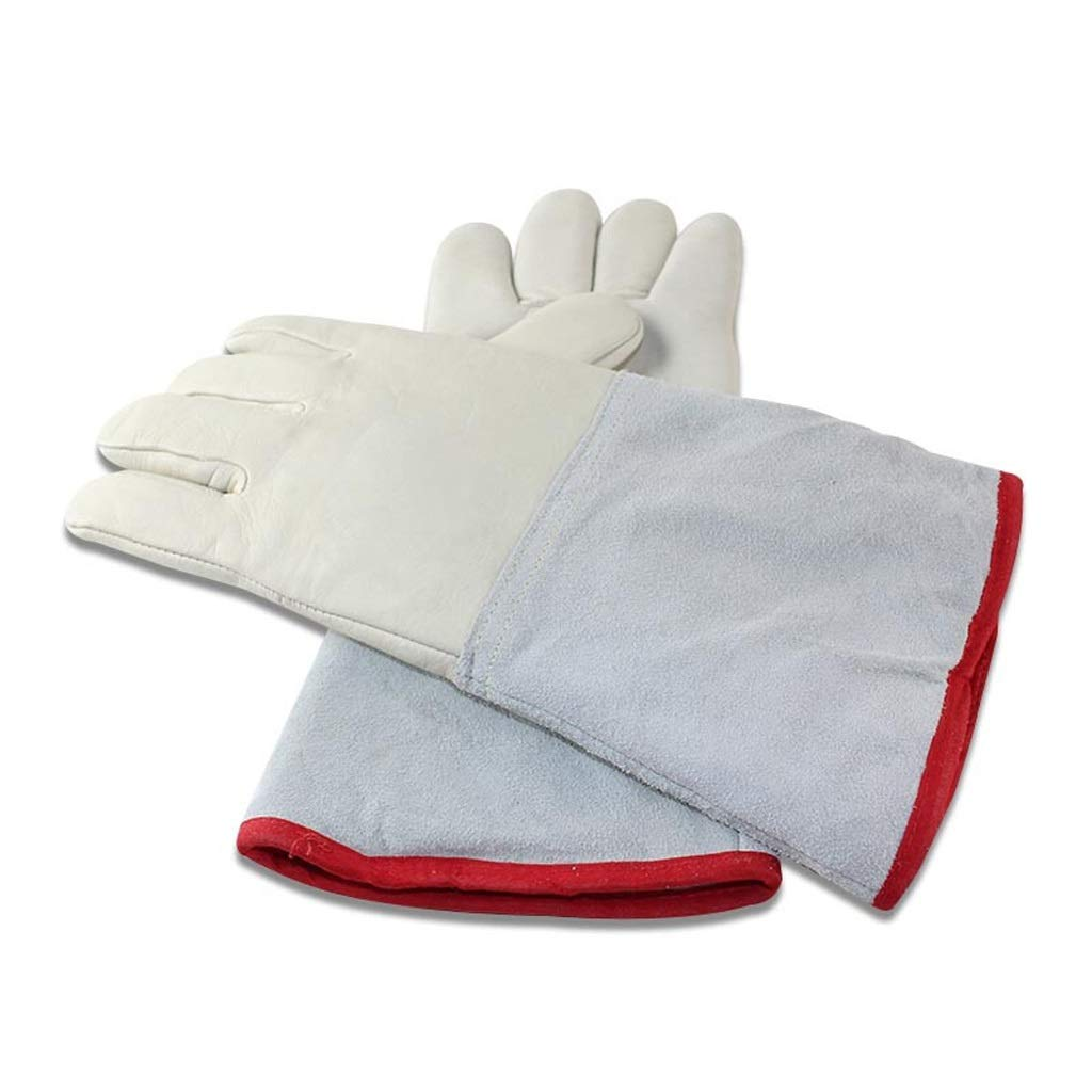 LZRZBH Waterproof Liquid Nitrogen Protective Cowhide Gloves Low Temperature Resistance Cryogenic Work Gloves (Size : L35cm)