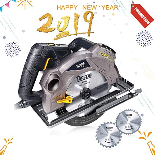 """Circular Saw, TECCPO 7-1/4"""" 5500 RPM Saw with Laser Guide, 24T&40T Circular Saw Blades,Lightweight Aluminum Guard and Scale Ruler, TACS01P"""