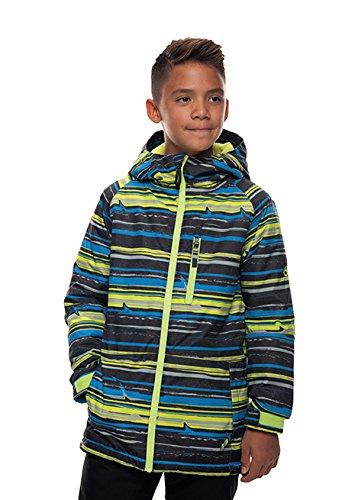 686 Boy's Jinx Insulated Jacket, Blue Bird Stripe Print, Large (686 Boys Snowboard Jacket)