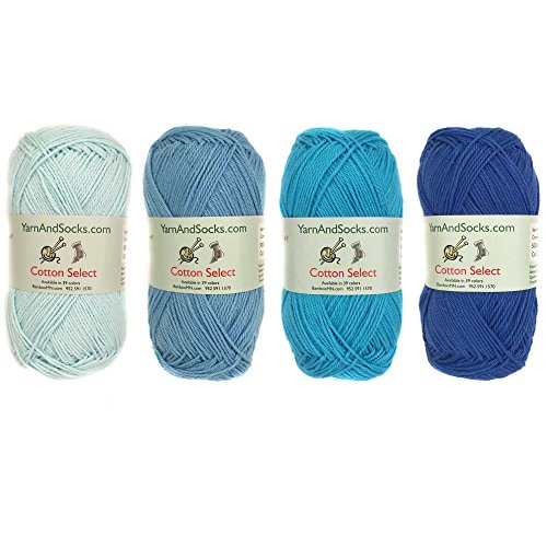 Cotton Select Sport Weight Yarn Color Palette Pack - 100% Fine Cotton - Shades of Blue - 4 Skeins by BambooMN