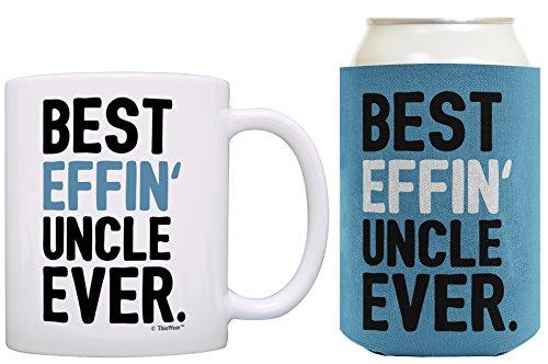 Birthday Gifts for Uncle Best Effin Uncle Ever Fathers Day Gifts for Uncle Gift Coffee Mug and Can Coolie Drink Cooler Bundle Pack