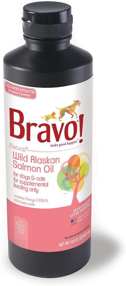 BRAVO 294130 Wild Alaskan Salmon Oil for Pets, 16.5-Ounce