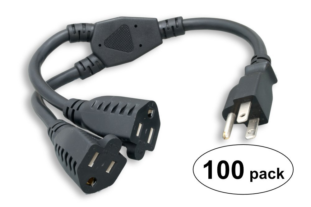 Cablelera Power Cord Extension and Splitter NEMA 5-15P to NEMA 5-15R X 2 16 AWG 13A 125V 14'' 100 Pack Power Cable (ZPK054SI-100) by Cablelera