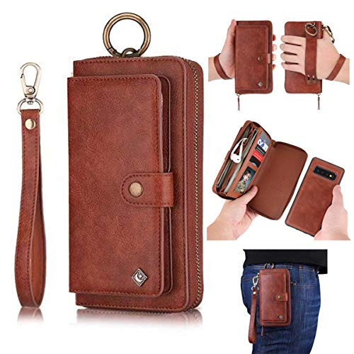 Galaxy S10 Plus Leather Flip Case,Galaxy S10 Plus Wallet Case for Women and Men,AIFENG [14 Card Holder][Zipper][Magnetic Detachable] Wallet Phone Case Leather Pouch for Samsung Galaxy S10 Plus,Brown