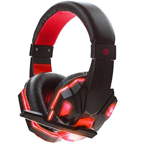 Ocamo - Auriculares estéreo de 3,5 mm con micrófono LED, Negro y Rojo