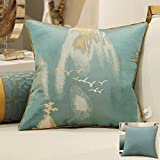 HOMEE a New Modern Chinese Chip-Pillow Sofa Pillow Back Lumbar Pillow Cushion Large Armful Pillows ,45X45Cm, Kit 3 Diagonal Blue,Lone wild swan blue and green,60X60cm
