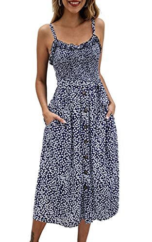 (Angashion Women's Dresses - Summer Boho Floral Spaghetti Strap Button Down Belt Swing A line Midi Dress with Pockets 016 Blue S)
