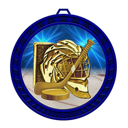 10-Pack of 2-1/2 inch Ice Hockey Medals Award Trophy with Neck Ribbons Metal Awards ()