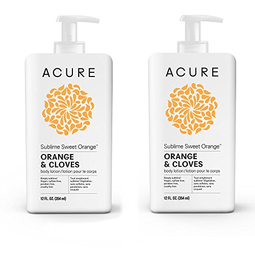 Acure Organics Mandarin Orange Energizing Body Lotion With Vitamin C, Organic Argan Oil, Cocoa Butter and Olive Oil, All Natural and Organic Formula, 8 fl. oz. (Pack of 2) - Evening Primrose Rose Body Lotion