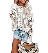 AlvaQ Women Lace Crochet Long Sleeve Crewneck Sweaters Winter Knit Pullover Jumper Tops