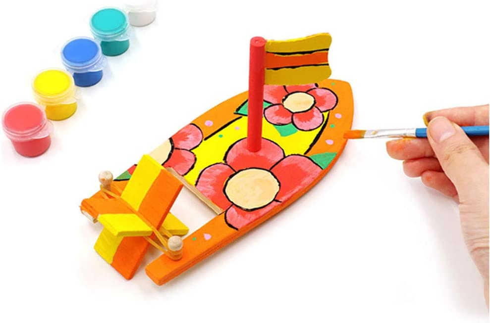DIY mini wooden boat wooden sailing boat educational toys for crafting and painting 5 wooden model boat crafting sets with 12 colors and 2 brushes for children DIY wooden toy crafts