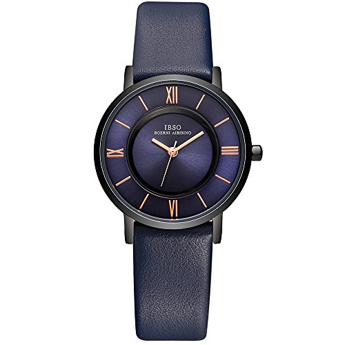 IBSO Women Ultra-thin Quartz Analog Roman Numeral Watch Waterproof Unique Fashion Design Business Casual Wristwatch - Fashion Unique Womens