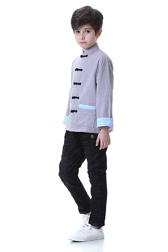 19b20114a Amazon.com: Bitablue Boys Cotton/Linen Traditional Chinese Jacket (Grey,  8): Clothing