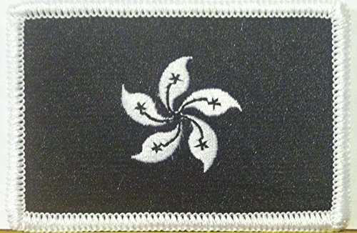 HONG KONG Flag Embroidered VELCRO Patch Military Tactical Shoulder Emblem Black & White Version #507