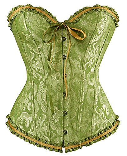 Senchanting Women's Satin Lace up Overbust Corset Bustier Plus Size + G-string (Green, 6XL) -