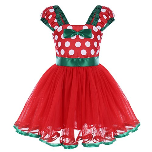 IBTOM CASTLE Baby Girls Polka Dots Princess Ballet Tutu Dress Birthday Party Pageant Dress up Costume Outfits Z# Red+Green(D) 3-4 Years