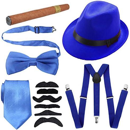 1920s Mens Accessories Hard Felt Panama Hat, Y-Back Suspenders & Pre Tied Bow Tie, Tie,Toy Cigar & Fake Mustache