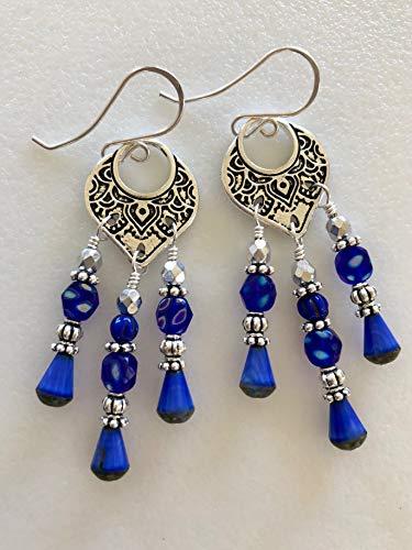 Blue Chandelier Earrings, Premium Czech Glass, Lapis Blue Silk Picsasso Teardrops, Bali Temple Rings Chandelier, Fine Silver Pewter, Boho.