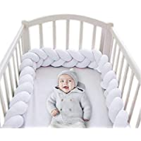 Wonder Space Soft Knot Plush Pillow - 2 Meters Baby Crib Bumper, Fashion Nursery Cradle Decor For Baby Toddler and Childern (Pure White, 2 Meters)