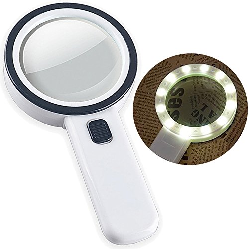 30X High Power Handheld Magnifying Glass with Led Light, Double Glass Lens Jumbo illuminated Magnifier Glasses for Reading, Soldering, Inspection, Coins, Jewelry, perfect for Macular Degeneration (Smooth Clear Lens)