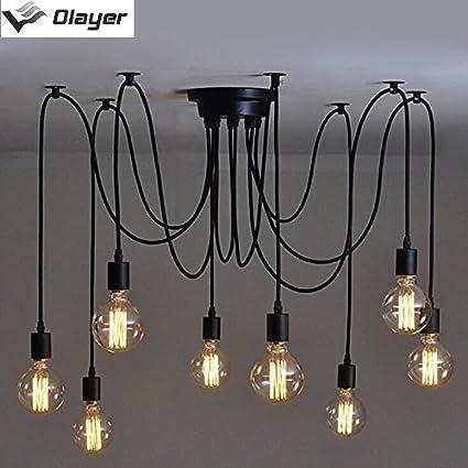 Olayer - Lámpara de techo (casquillo Edison), diseño retro steampunk, negro, 8heads