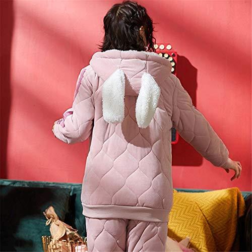Franela En Capas Informal Invierno Cálido Hogar De Servicio L Mujeres Piezas 2 Otoño Algodón E Suave Coral Baijuxing Espesar Juego El Pijamas Tres gqz67XZx