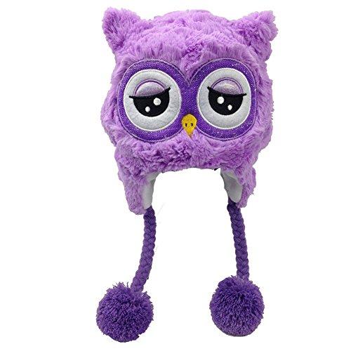 [Snuggle Stuffs Girls Plush Lavender Night Owl Hat] (Yellow Beak Costume)
