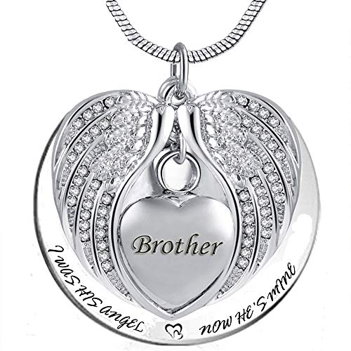 PREKIAR Angel Wing Urn Necklace for Ashes, Heart Cremation Memorial Keepsake Pendant Necklace Jewelry with Fill Kit and Gift Box (Brother)