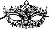 Luxury Mask Women's Laser Cut Metal Venetian Crown Mask, Black/Clear Stones, One Size