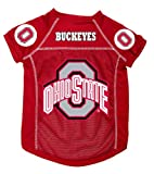 Dog Zone NCAA Pet Football Jersey, Medium, Scarlet Red, Ohio State University, My Pet Supplies