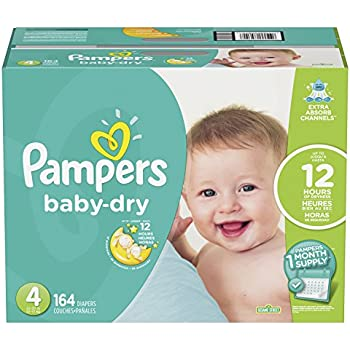 Pampers Baby-Dry Diapers, Size 4, 164 Count