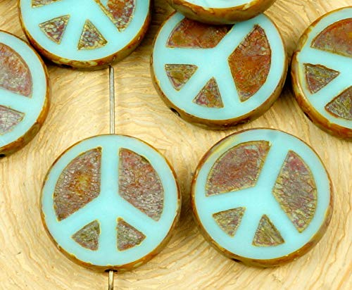 4pcs Picasso Brown Opaque Light Turquoise Blue Peace Sign Love Tree of Life Charm Pendant Coin Flat Round Table Cut Window Czech Glass - Sign Flat Peace Pendant