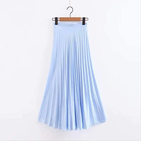 QYYDBSQ Primavera Azul Elegante Falda Larga Plisada Cintura Alta ...